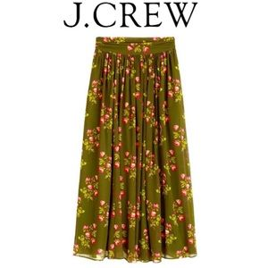 🔖New 00 J.CREW POINT SUR Green Floral Maxi Skirt